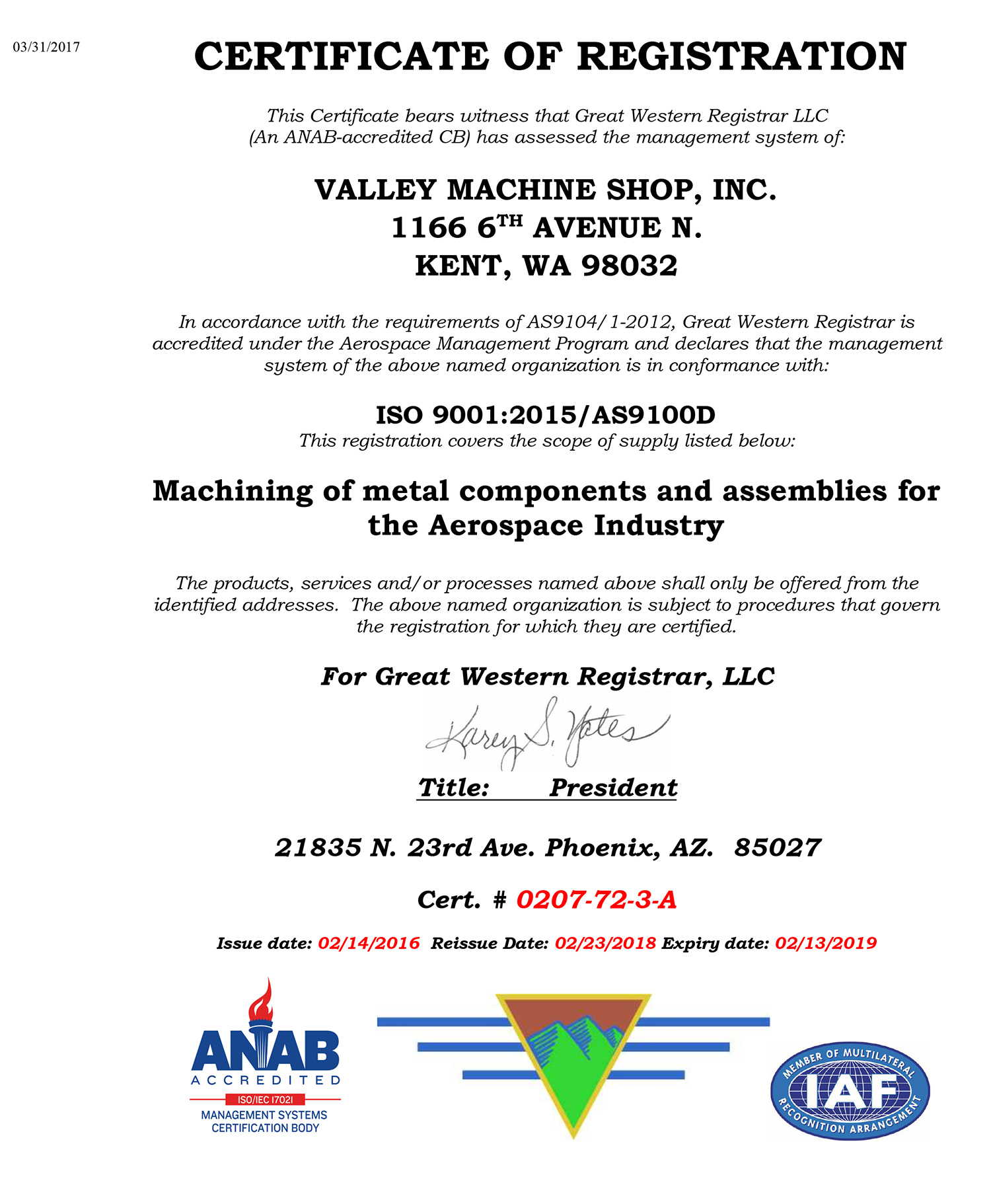 Valley Machine Shop Certifications